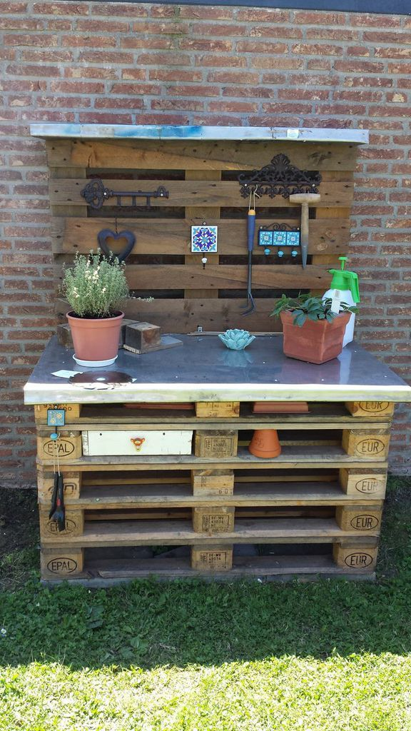 mein pflanztisch aus paletten planting table ideen f r den garten und drau en pinterest tables. Black Bedroom Furniture Sets. Home Design Ideas