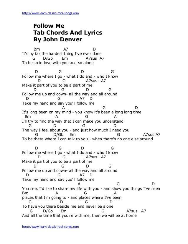 Http Www Learn Classic Rock Songs Com Http Www Learn Classic Rock Songs Com Follow Me Tab Chords And John Denver Lyrics John Denver Songs Lyrics To Live By Lyrics to 'you will be found' by ben platt: pinterest
