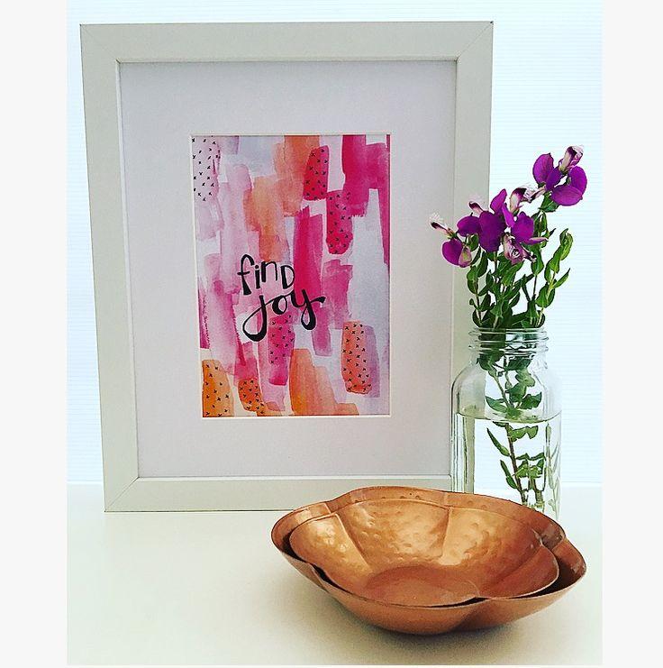 Find Joy print - watercolour and ink art by Kim Miatke