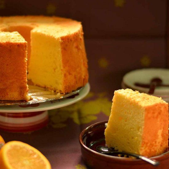 A light and fluffy chiffon cake bursting with orange flavour - perfect to have for an afternoon tea!