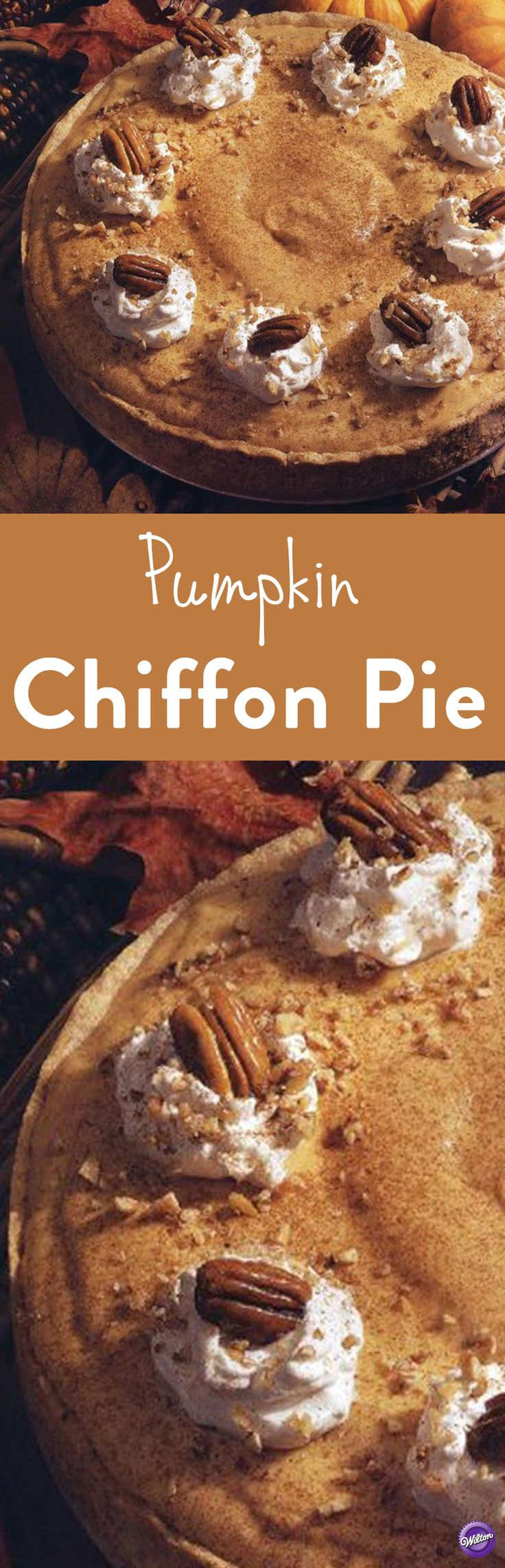 Pumpkin Chiffon Pie Recipe - This pumpkin chiffon pie is a deliciously light alternative to traditional pumpkin pie. Spiced with cinnamon and nutmeg, the golden pumpkin filling is spooned into a nut pastry crust made in a 10-inch springform pan. The perfect dessert to serve for Thanksgiving!