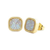 White Faux Druzy Stud EarringsAdd these fabulous velvety studs to your wardrobe. The glittering effect of tiny crystals in creamy white is sure to leave you swooning! Product Material - Zinc Alloy with 18K Gold Plating, Stainless Steel Posts