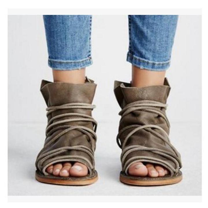 Duze Rozmiary Peep Toe Zipper Pu Sandaly Kobieta Buty Open Toe Flat Shoes Lace Up Sandals Flat Shoes Women