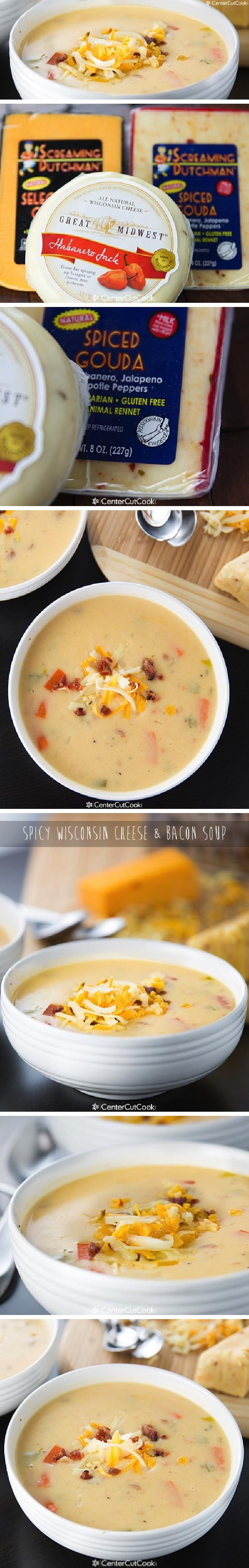Creamy SPICY WISCONSIN CHEESE & BACON SOUP with spiced gouda, habanero jack, and sharp cheddar cheese with crispy bacon! An easy recipe that comes together fast!