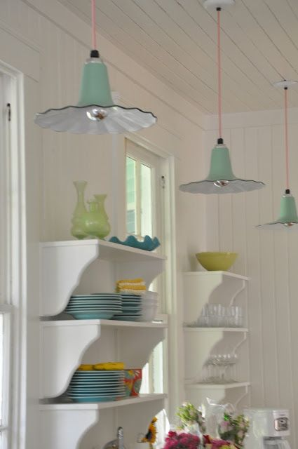 Jane Coslick Cottages - Perfect Cottage Lighting - love the color and style of the shade and how cool is the electric cord.