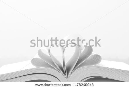 Heart Shaped Book.Multiple Hearts made using book pages. - stock photo