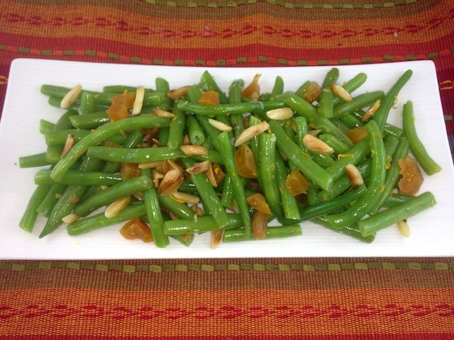 Roasted Green Beans with Dried Apricots and Pecans
