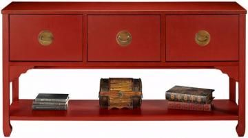 This cool Asian inspired piece of furniture actually has 3 file drawers.