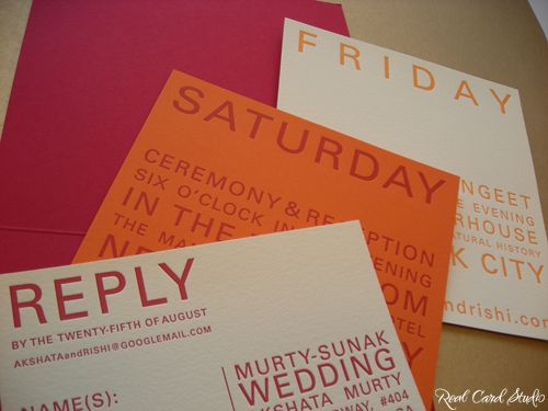 Reply Card, Reception Card, Sangeet, Mehendi, Letterpress, Red, Orange, Gold
