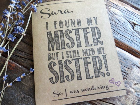 Ask Maid of Honor Bridesmaid Card.Funny Sister by rusticandruffly