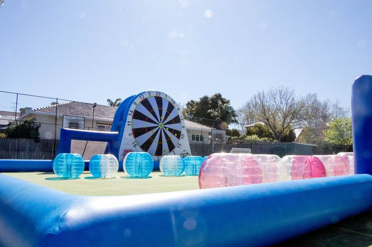 The ultimate Spring time entertainment setup. Bubble Soccer and Soccer Darts setup for this lucky School Holiday proram! #BubbleSoccer #SoccerDarts