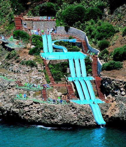At the Citta del Mare hotel in Siciliy, you can slide right into the Mediterranean Sea!