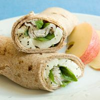 Turkey, Mozzarella & Basil Wrap    Ingredients      2 6 inches (small) whole-grain tortillas      3 ounces turkey      1 1 ounce slice part-skim mozzarella cheese      1/4 cup chopped fresh basil      1 medium apple    Directions  1. Cut cheese in half.  2. Fill tortillas with turkey, cheese and basil.  3. Serve with apple.