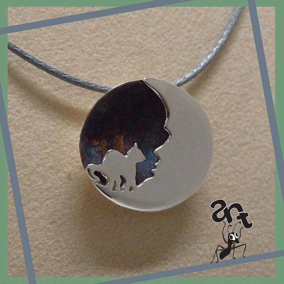 Sterling silver handmade pendant  Cat on the moon by AntJewellery https://www.etsy.com/listing/151317538/sterling-silver-handmade-pendant-cat-on?ref=shop_home_active_18