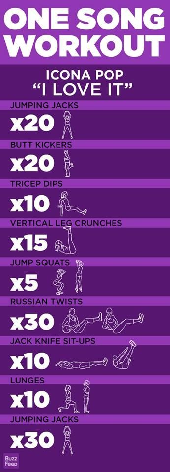 One Song Workout- Icona Pop- I Love It. i dont like this song but this looks fun.