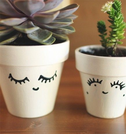 Painted Terracotta Pots...one with eyes open and the other with eyes closed...pinning because these pots are too cute