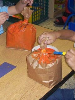 """Fall Pumpkins/ jack-o-lanterns cut out shapes for eyes, nose etc.  Paint """"stem"""" green after you paint the body orange."""