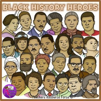 25 Black History Heroes Clip Art in crayon effect!