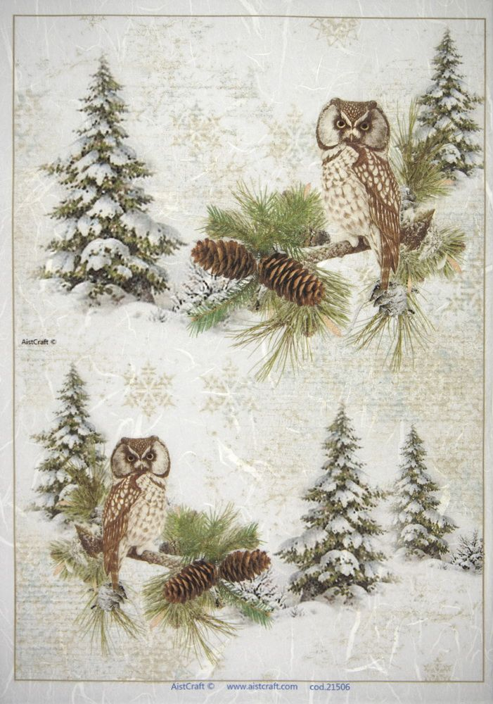 for Decoupage Scrapbook Sheet Rice Paper Winter Birds with Santa