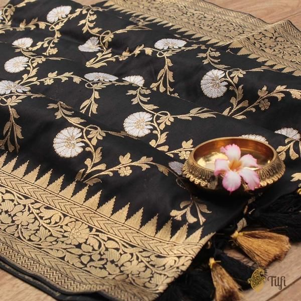 Black Pure Katan Silk Banarasi Handloom Dupatta - Oh, the poetic beauty of Black and the finest craftsmanship makes this dupatta a timeless piece of handloom art! This exquisite, dense full Kadwa floral jaal in gold and silver zari is the definition of quintessential Banarasi opulence.