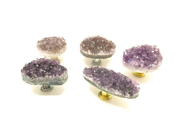 I love these amethyst purple knobs.  I don't know why I don't have any for my own dresser or desk!!! Light Amethyst Knob/ Amethyst Drawer Pull/ by StephenDEvans