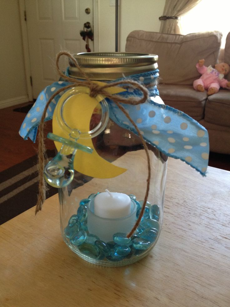Country Moon Baby Shower Center Piece Mason Jar Candle