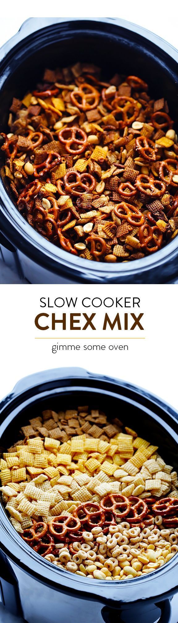 Slow Cooker Chex Mix -- turns out that this favorite snack is actually SUPER easy to make in the crock pot!  So tasty, and always a crowd favorite.   http://gimmesomeoven.com