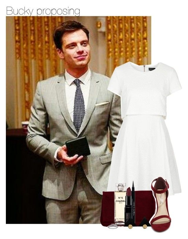 """Bucky proposing"" by thatweirdgirlkris ❤ liked on Polyvore featuring Sebastian Professional, Topshop, Pieces, Anne Michelle, Chanel, Bobbi Brown Cosmetics, Givenchy and Maria Tash"
