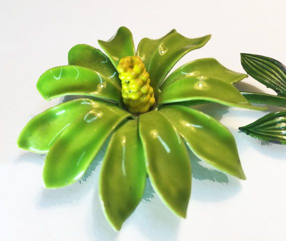 Vintage Enamel Flower Brooch  Green Enamel Flower Power Pin