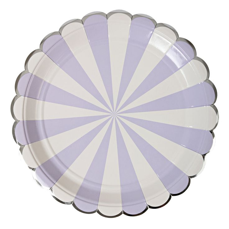Plates | Meri Meri | Toot Sweet | Lavender & White Stripe Large Plates 9"