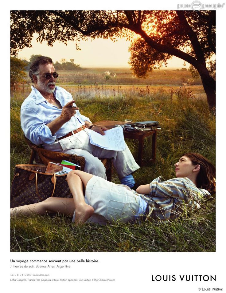 The director Francis Ford Coppola and his daughter Sofia (Lost in Translation or Virgin Suicides) are the new faces of Vuitton. The photograph, signed Annie Leibovitz, was made near Buenos Aires (where Francis Ford Coppola shoots his last film). It shows the director seated, a scenario in his hand, and his daughter, lying in the grass. This is the fifth personality portrait produced by the brand. It will be released in August 2008.