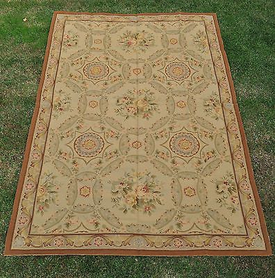 6'x9' Handmade Antique Look Floral Portuguese Wool Needlepoint Gold Area Rug