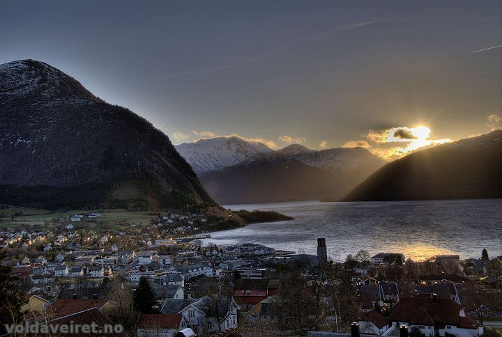 Volda, Norway. The most beautiful place I've ever been! I took a ferry across that very fjord and stayed in that village.