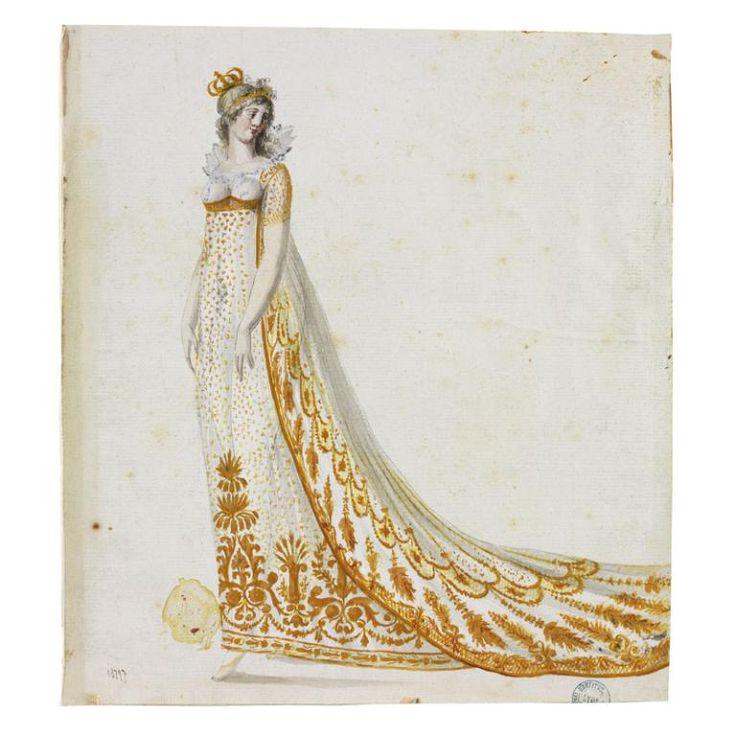 Jean-François Bony (Givors, 24 février 1754 - Paris, 1825) (dessinateur), Projet de robe pour l'Impératrice Marie-Louise, Lyon, commandée en avril 1810, livrée en septembre de la même année. MT 18797.1. Achat Desq, 1866 © Musée des Tissus, Sylvain Pretto