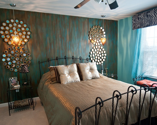Beautiful Faux Painted Wall With Teal,brown And Metalic Copper Colors.lose  The Zebra Strip Window Treatment And Iu0027m Sold