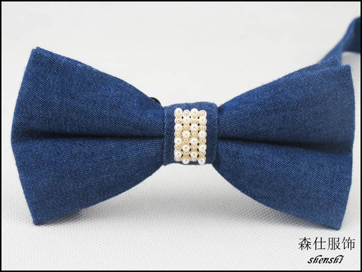 new style fashion bowtie/dark blue/Denim fabric/Shining pearl in the middle design/High end grade atmosphere bowknot-in Ties & Handkerchiefs from Women's Clothing & Accessories on Aliexpress.com | Alibaba Group
