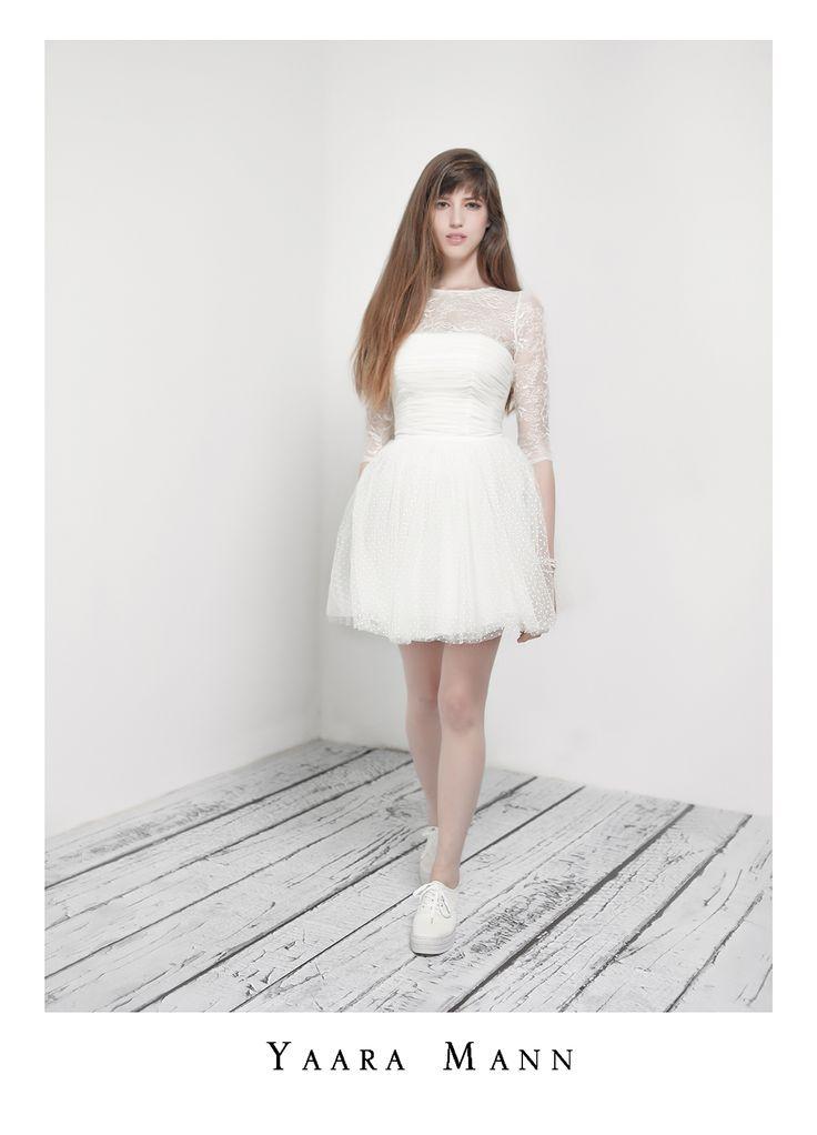 """Chloe"" short & fun wedding dress from Yaara Mann's collection 2014 www.yaaramann.com"