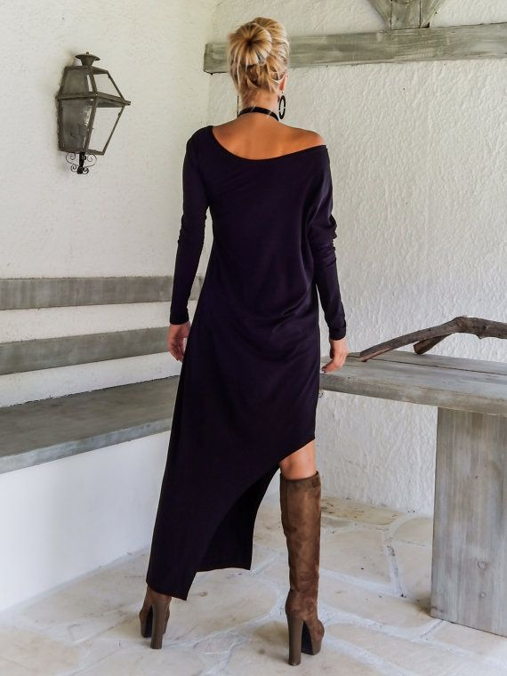 Black Maxi Long Sleeve Dress / Black Kaftan / Asymmetric Plus Size Dress / Oversize Loose Dress / #35034