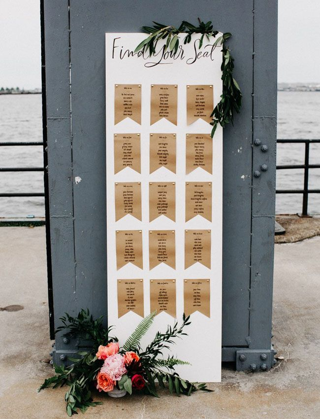 """concept for seating chart (but obviously they wouldn't be kraft paper or pennant shaped) - but the idea is that there would be pieces of paper on a whitewashed piece of wood with calligraphy """"Find your Seat"""" on the top. (A hint of rustic without looking like a barn wedding)"""