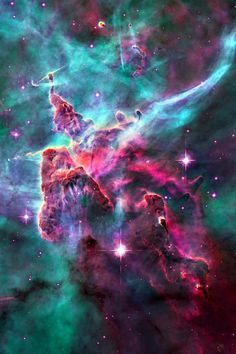 Carina Nebula, NGC 3372, sur-rounds several clusters of stars. Eta Carina & HD 93129A, two of the most massive & luminous stars in the Milky Way, are among them. At an est 6,500 10,000 ly away, it is one of the largest nebulae ever seen (larger & brighter than the Orion nebula) the top is a 3-ly-tall pillar of cool hydrogen being worn away by the radiation of nearby stars. Carina Constellation