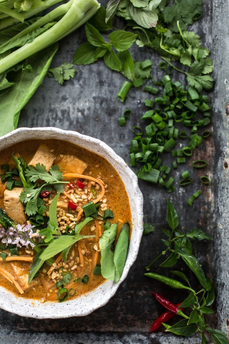 Thai Red Curry Tofu Soup With Sweet Potato Noodles - Cook Republic #vegan #glutenfree #plantbased
