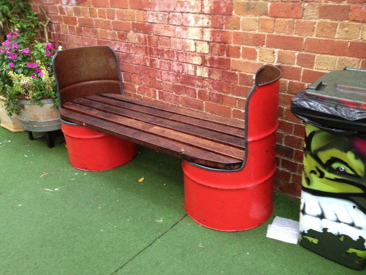Creative bench with recycled 55-gallon drums.: