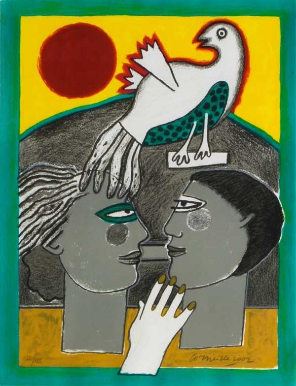 Corneille - l'eventant l'oiseau - zeefdruk Corneille was een vooraanstaand lid van de CoBrA-beweging. Deze beweging had als doel de speelsheid van het kind na te bootsen in de kunst. De kleurrijke schilderijen en zeefdrukken van Corneille zijn zeer populair geworden --- Corneille was a member of the CoBrA movement. This movement wanted to use the playful child's mind in art. The colourful silkscreens and paintings of Corneille are very popular.