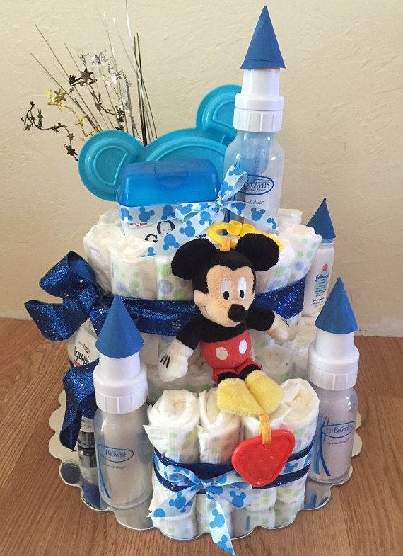 Made to order Custom Diaper Cake Castle! All new materials, from a smoke free home. Includes: Diapers ( huggies or target brand) 3 Dr. Browns