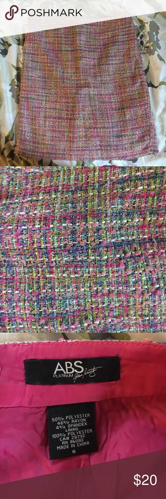 "ABS Allen Schwartz Tweed Skirt sz 6 Gorgeous tweed skirt by ABS by Allen Schwartz. Size 6. Tweed is pink, light green, light blue, chartreuse, light pink and white. Skirt measures 20"" long and is lined. Hidden Zippered back and buttoned tab. ABS Allen Schwartz Skirts Mini"