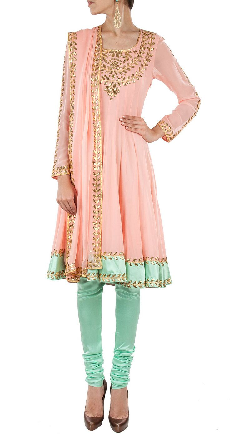 Beautiful MALASA pale Peach & Aqua Mint Gota embroidered #Churidar Suit at http://www.perniaspopupshop.com/designers-1/malasa/malasa-peach-embroidered-anarkali-set-mlc1113mlp5.html
