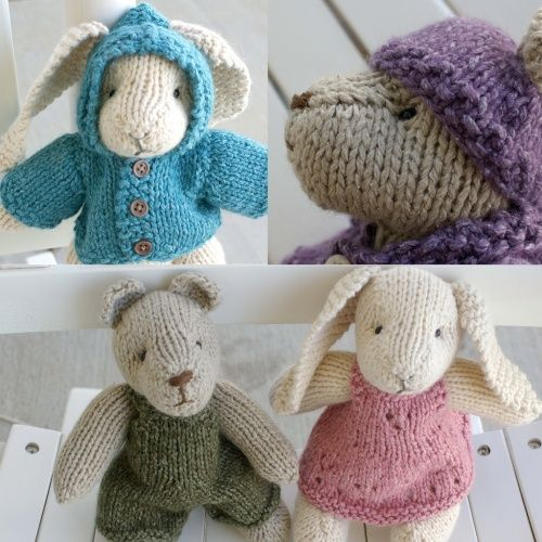 Free pattern for knitted bunny and bear, with clothes from bysmallmeans