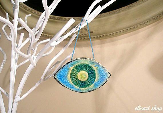 Ceramic evil eye protection amulet wall hanging eye evil