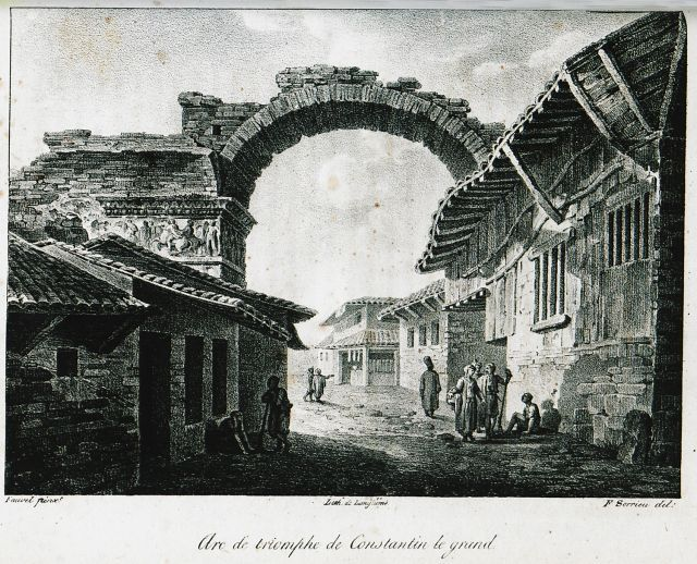 The triumphal arch of Galerius, also known as Kamara, Thessaloniki. - COUSINÉRY, Esprit Marie - TRAVELLERS' VIEWS - Places – Monuments – People Southeastern Europe – Eastern Mediterranean – Greece – Asia Minor – Southern Italy, 15th -20th century