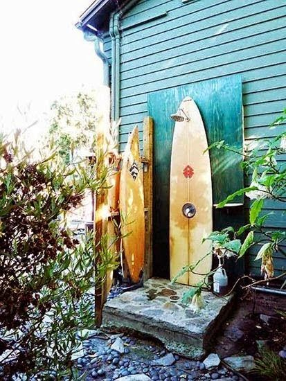 Outdoor shower made of surfboards